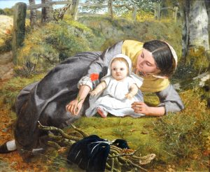 Mother & Child with Poppy - 19th Century PreRaphaelite Oil Painting 1862 Image