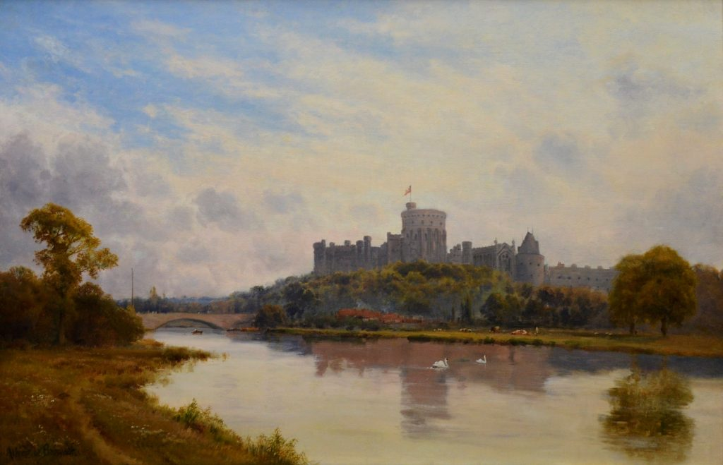 Windsor Castle from the Thames - 19th Century English Landscape Oil Painting Image