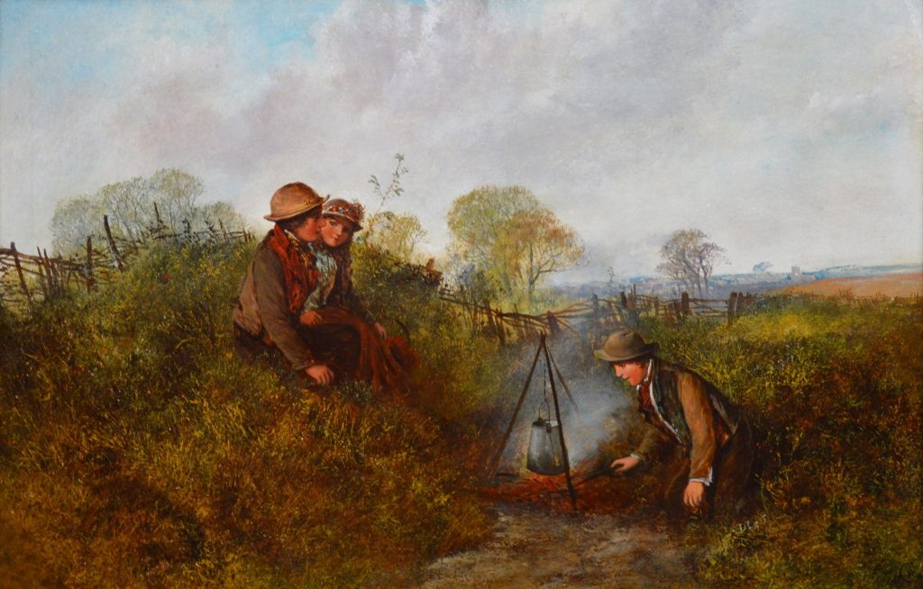 Children on the Common - 19th Century English Landscape Oil Painting Image