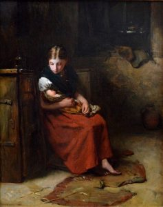 Little Mother - 19th Century Social Realist Oil Painting Portrait of a Young Girl Image