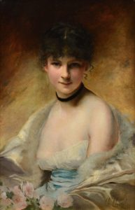 Belle Femme en Déshabillé - French 19th Century Belle Epoque Oil Painting Portrait of Paris Society Girl Image
