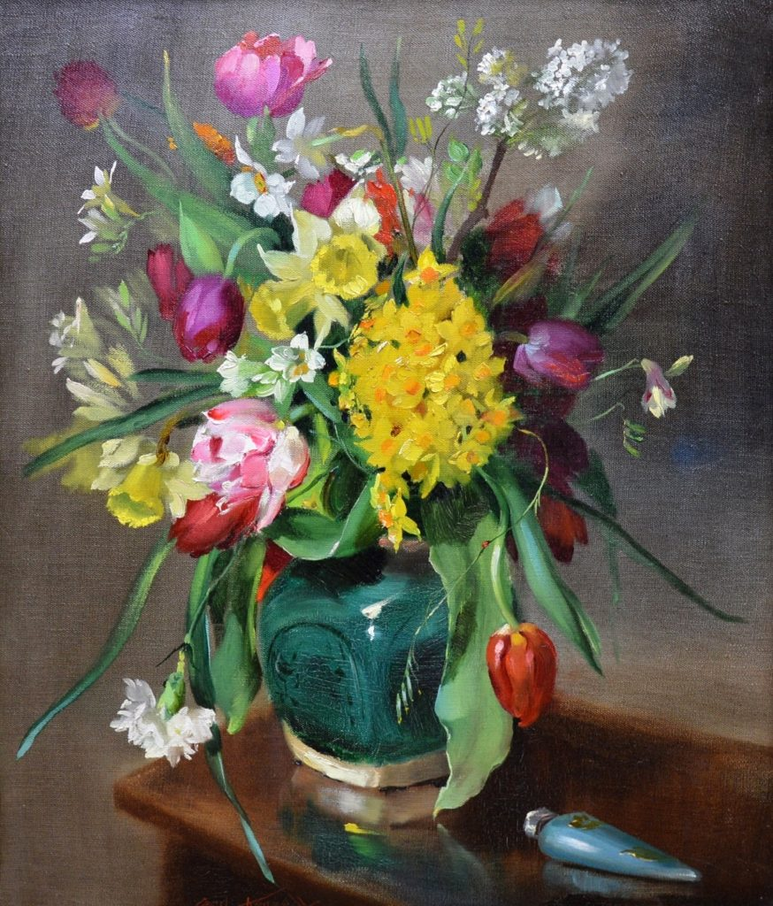 Tulips & Daffodils - Floral Still Life Oil Painting of Spring Flowers Image
