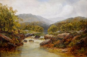 Fishing in the Highlands - 19th Century Sporting Angling Oil Painting Image