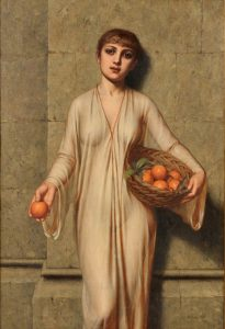 Oranges - 19th Century Orientalist Portrait Oil Painting of Roman Girl Image