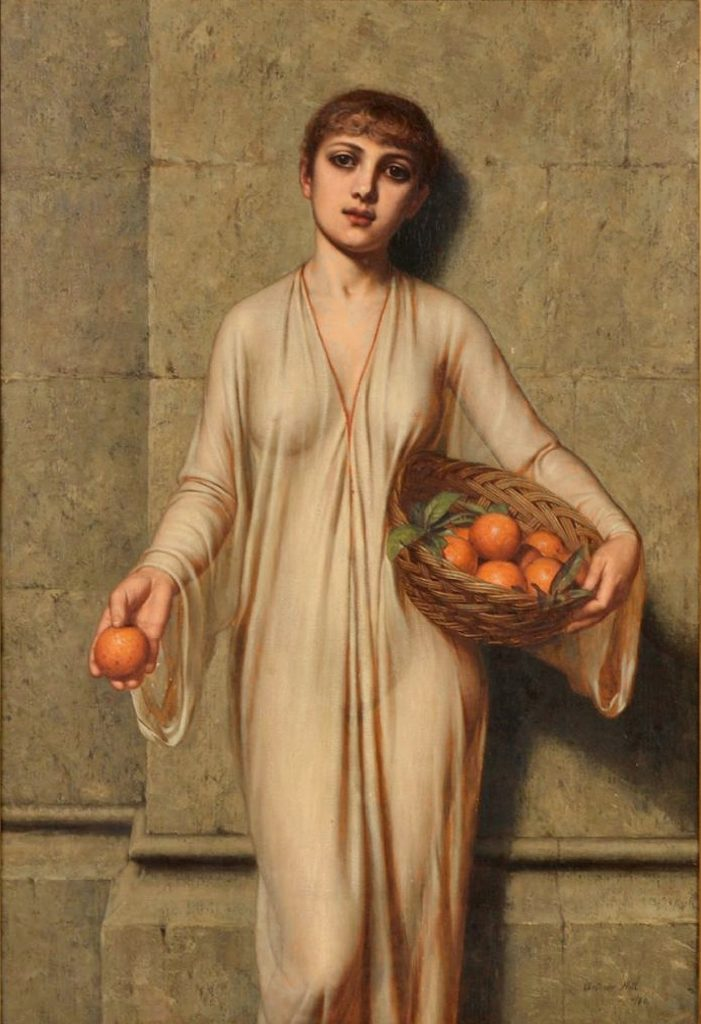 Oranges - 19th Century Neoclassical Oil Painting of Roman Girl Image