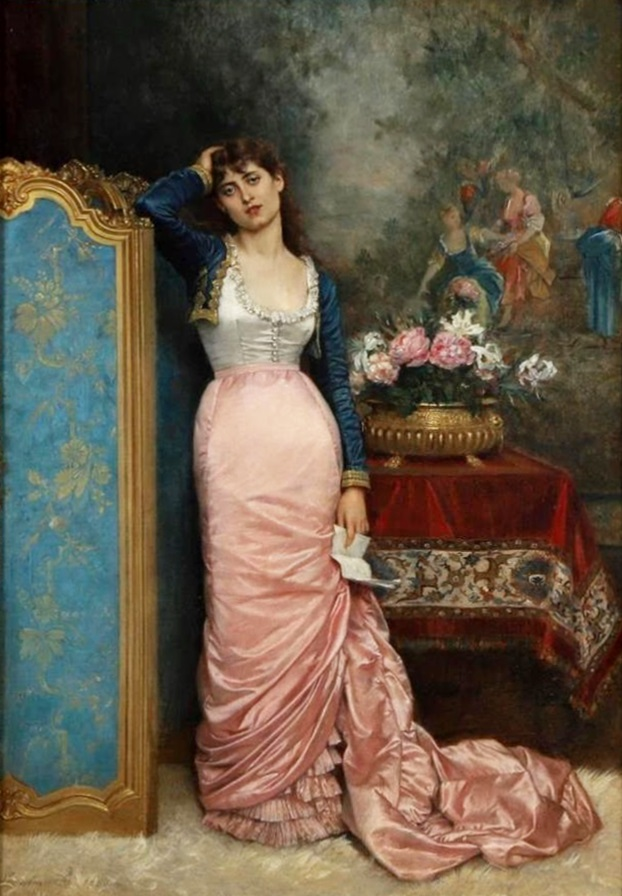 Declaration of Love - French 19th Century Portrait Oil Painting of Paris Beauty Image