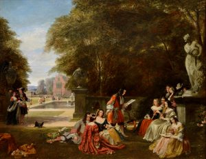 Summer Hill, time of Charles II - 19th Century Royal Academy Oil Painting of Royal Garden Party Image