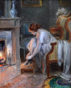 Au Coin du Feu - French Belle Epoque Oil Painting Portrait of Society Girl at a Fireside Image