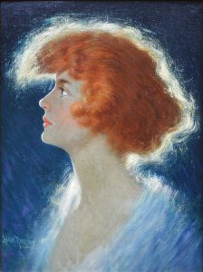 American Beauty - Belle Epoque Oil Painting Portrait of Redheaded Society Girl Image