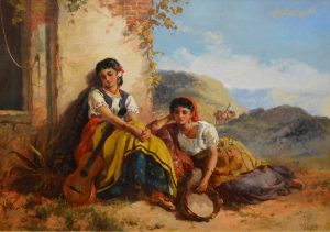Chicas Gitanas - 19th Century Oil Painting of Beautiful Gypsy Girls Image