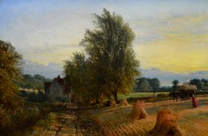The Harvest - 19th Century English Harvest Landscape at Sunset Image