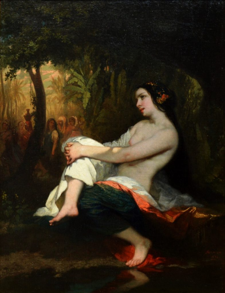 Femme-au-Bain - 19th Century French Orientalist Nude in Wooded Landscape Image