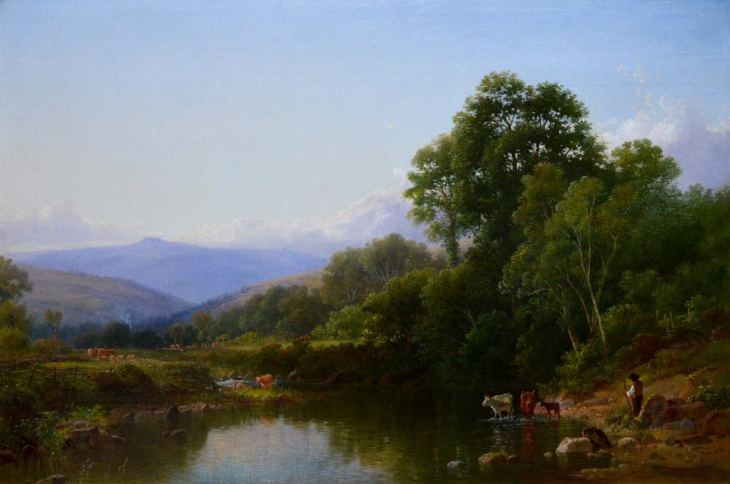 On the Teign, Devon - 19th Century English River Landscape Oil Painting Image