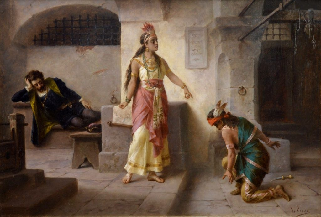 Intervention of Pocahontas - 19th Century Italian Capriccio Oil Painting Image