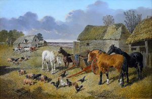 The Farmyard - 19th Century English Landscape Oil Painting Image