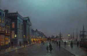 Liverpool - 19th Century Nocturne Oil Painting of Victorian Street Scene Image
