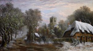 Ringwood, Hampshire - Very Large 19th Century Winter Landscape Oil Painting Image