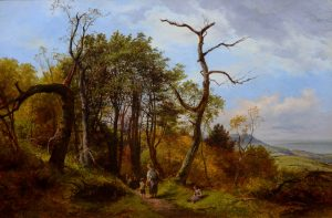 Gathering Kindling - 19th Century English Coastal Landscape Oil Painting Image