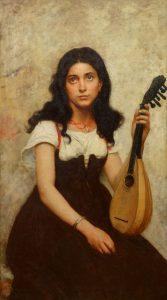 La Jeune Musicienne - 19th Century French Belle Epoque Oil Painting Portrait Image