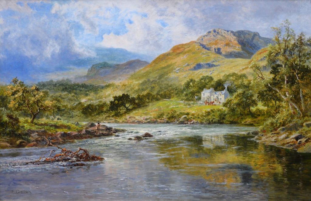The Fish Inn, Lledr Valley - 19th Century Welsh Landscape Oil Painting Image