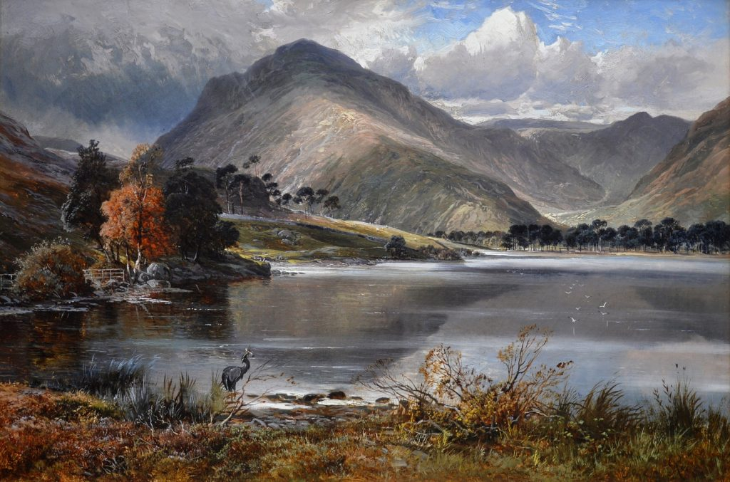 Scafell Pike from Wastwater - 19th Century English Mountain Landscape Oil Painting Image