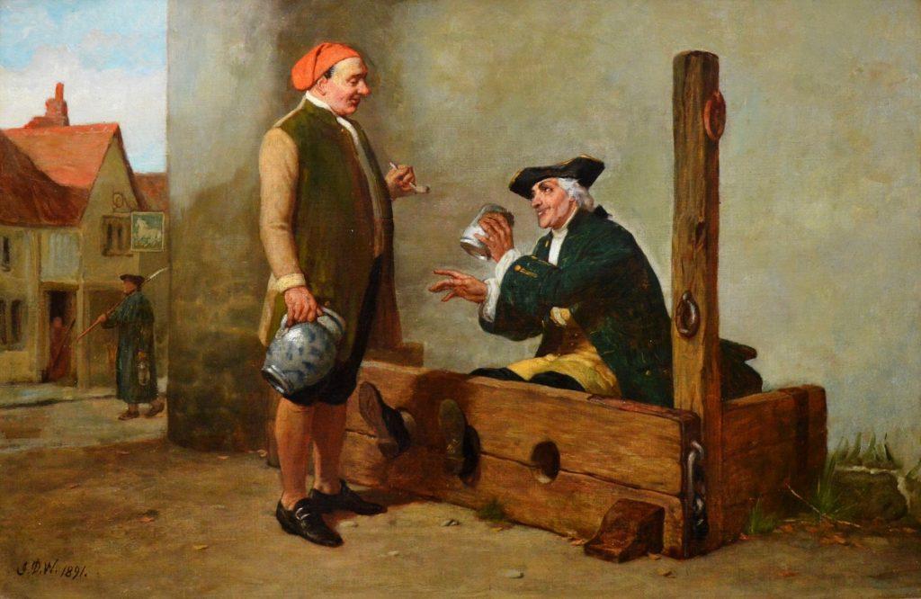 Welcome Refreshment - 19th Century Oil Painting of Georgian Gentlemen Image
