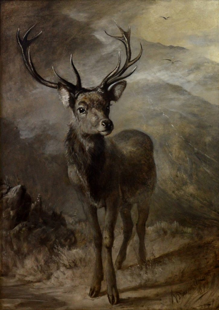The Young Pretender - Huge 19th Century Oil Painting of Scottish Highland Stag Image