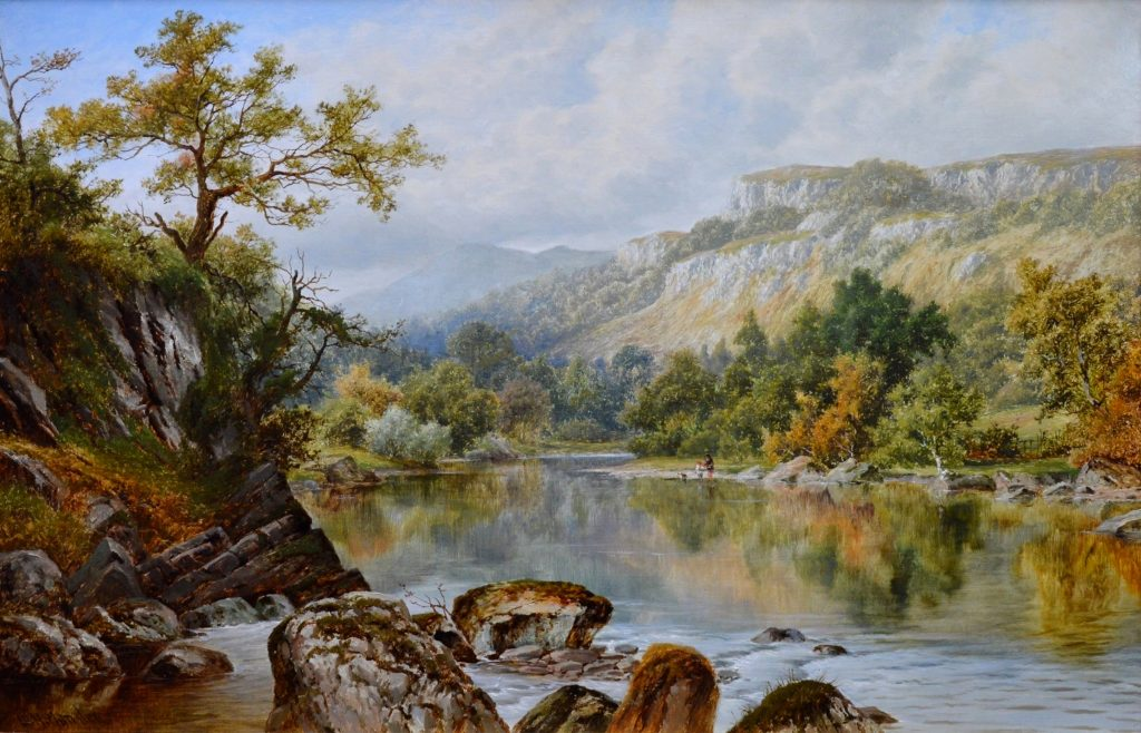 The Lledr Valley, North Wales - 19th Century River Landscape Oil Painting Image