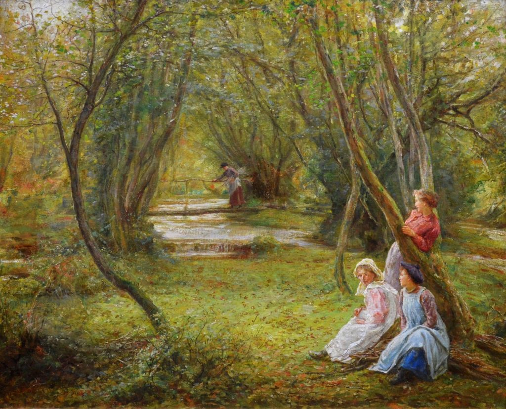 Girls in Autumn Woodland - 19th Century Landscape Oil Painting Image