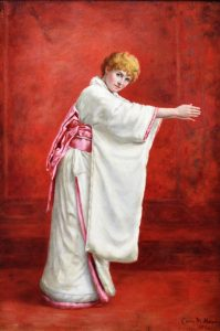 Girl in a Kimono - 19th Century Portrait Oil Painting of Redhead Image