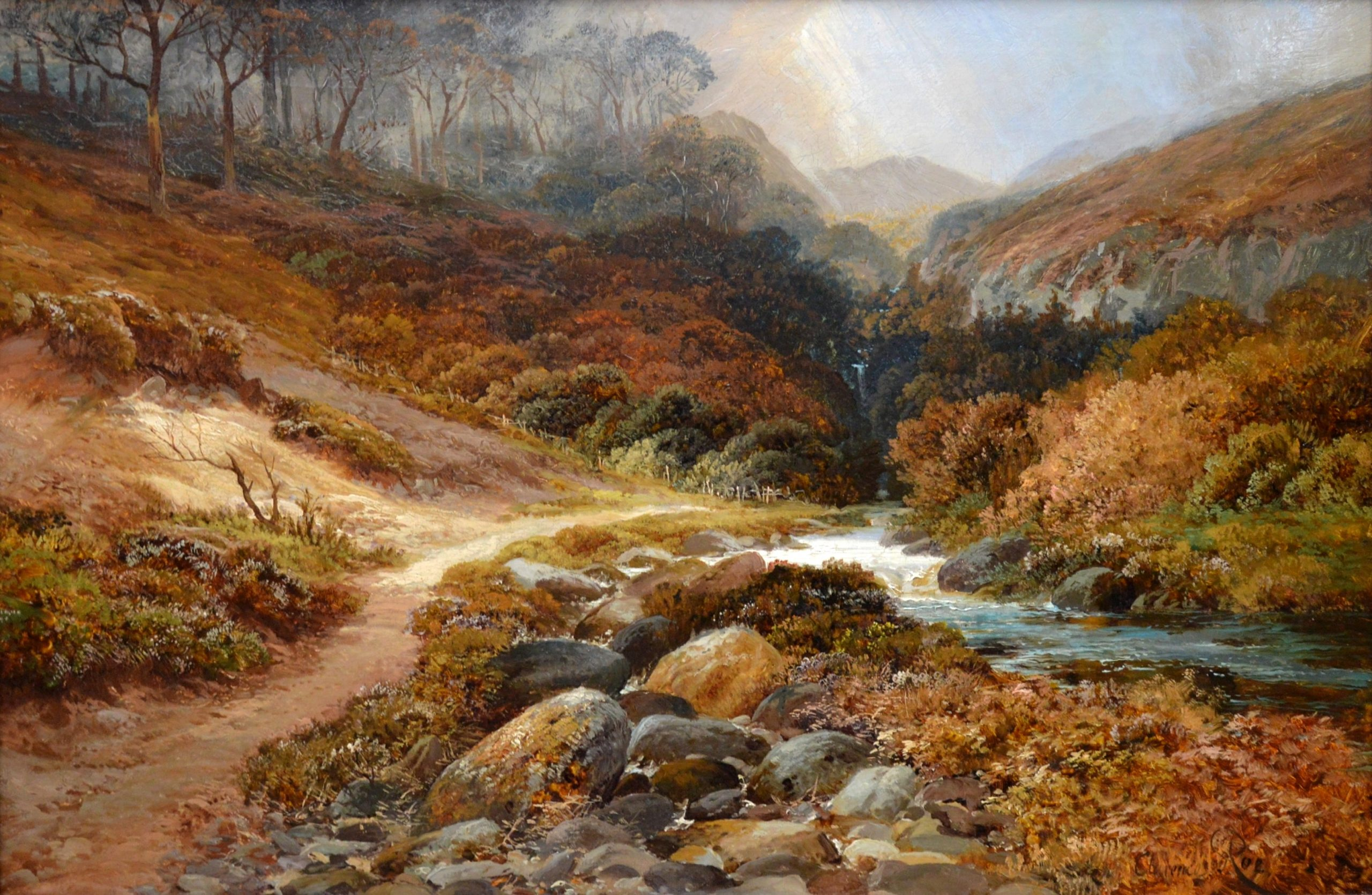Steall Falls and the Nevis Gorge - 19th Century Scottish Landscape Oil Painting Image