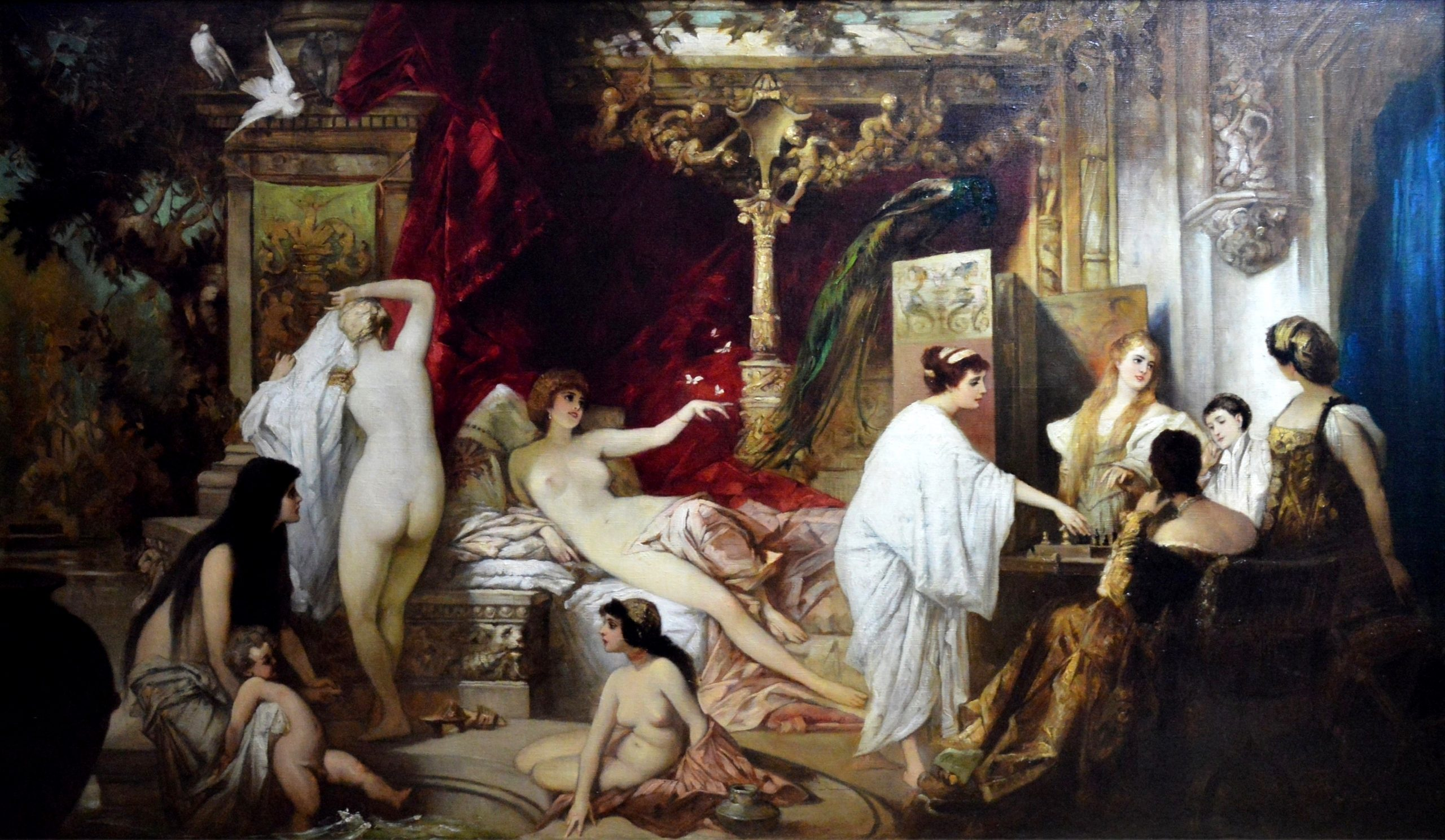 In the Harem - Huge 19th Century Orientalist Oil Painting Image