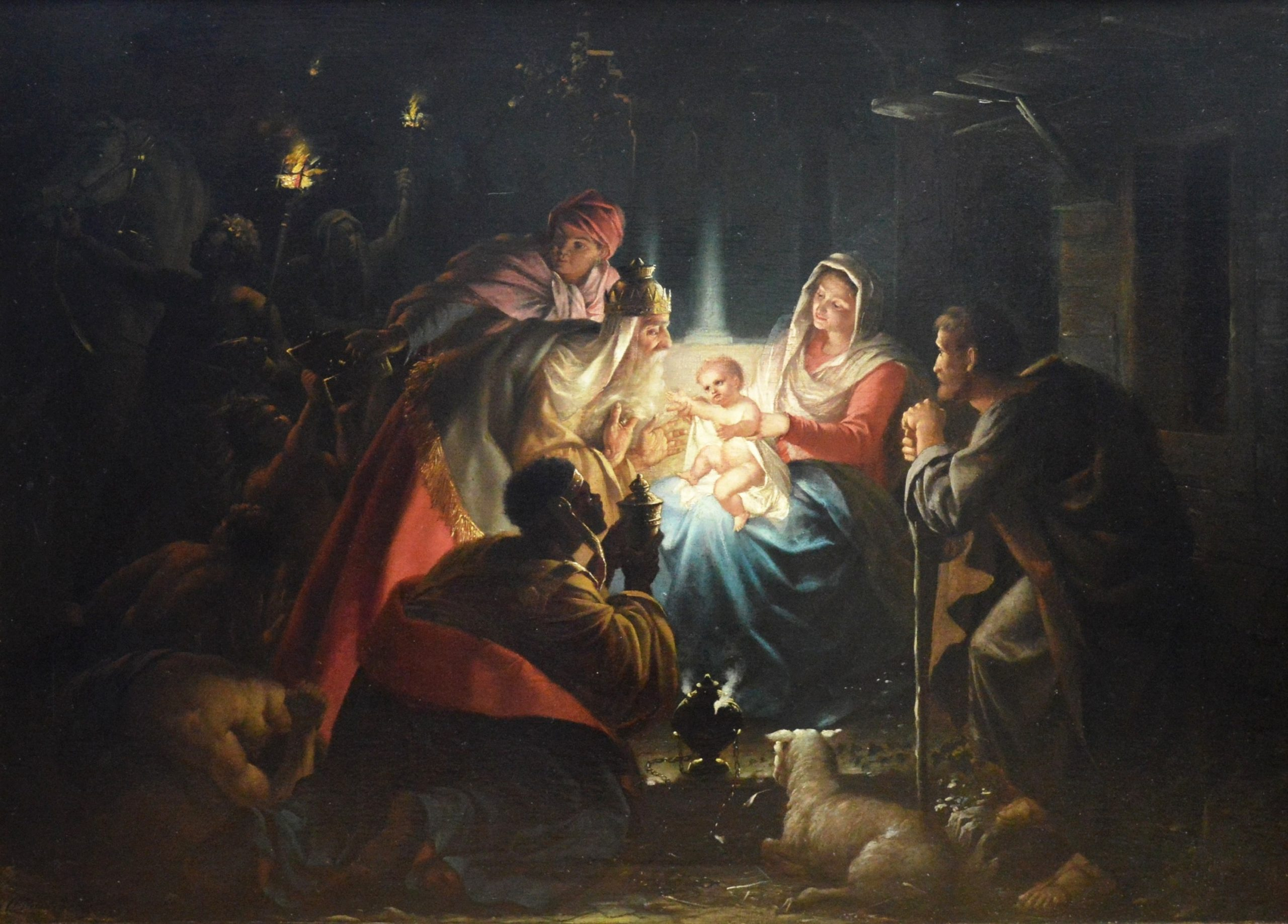 The Adoration of the Magi - 19th Century Oil Painting of the Nativity Image