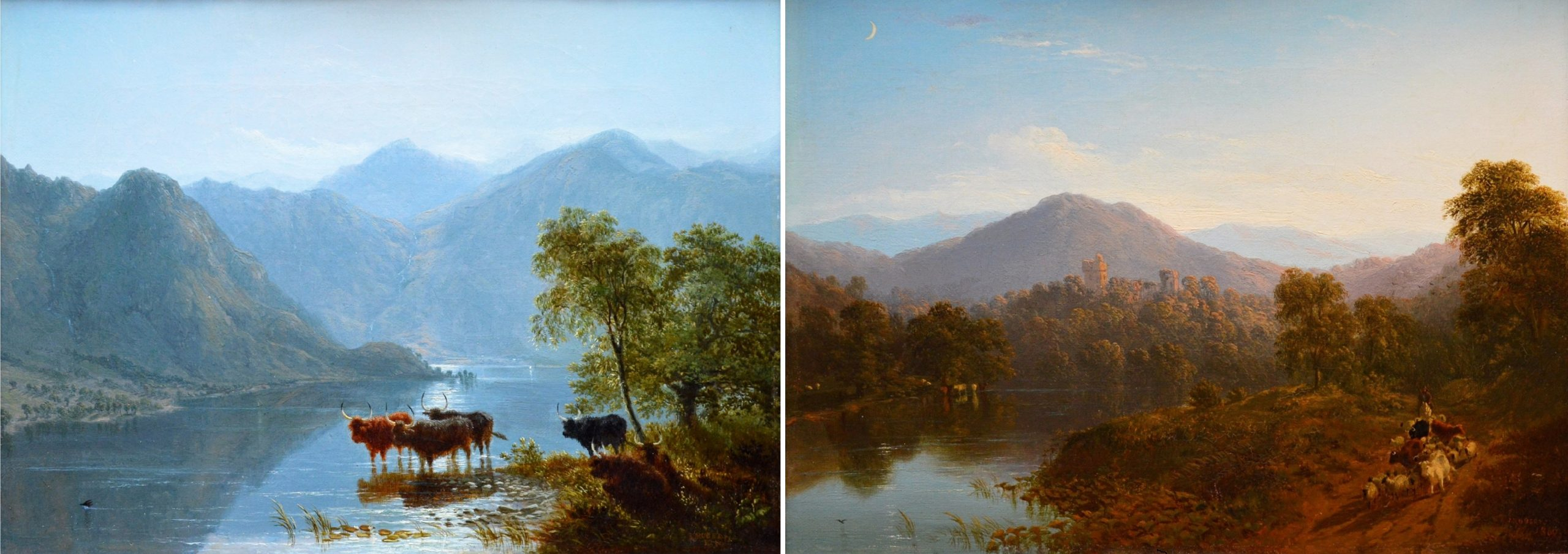 A Pair of Fine 19th Century Scottish Landscape Oil Paintings Image