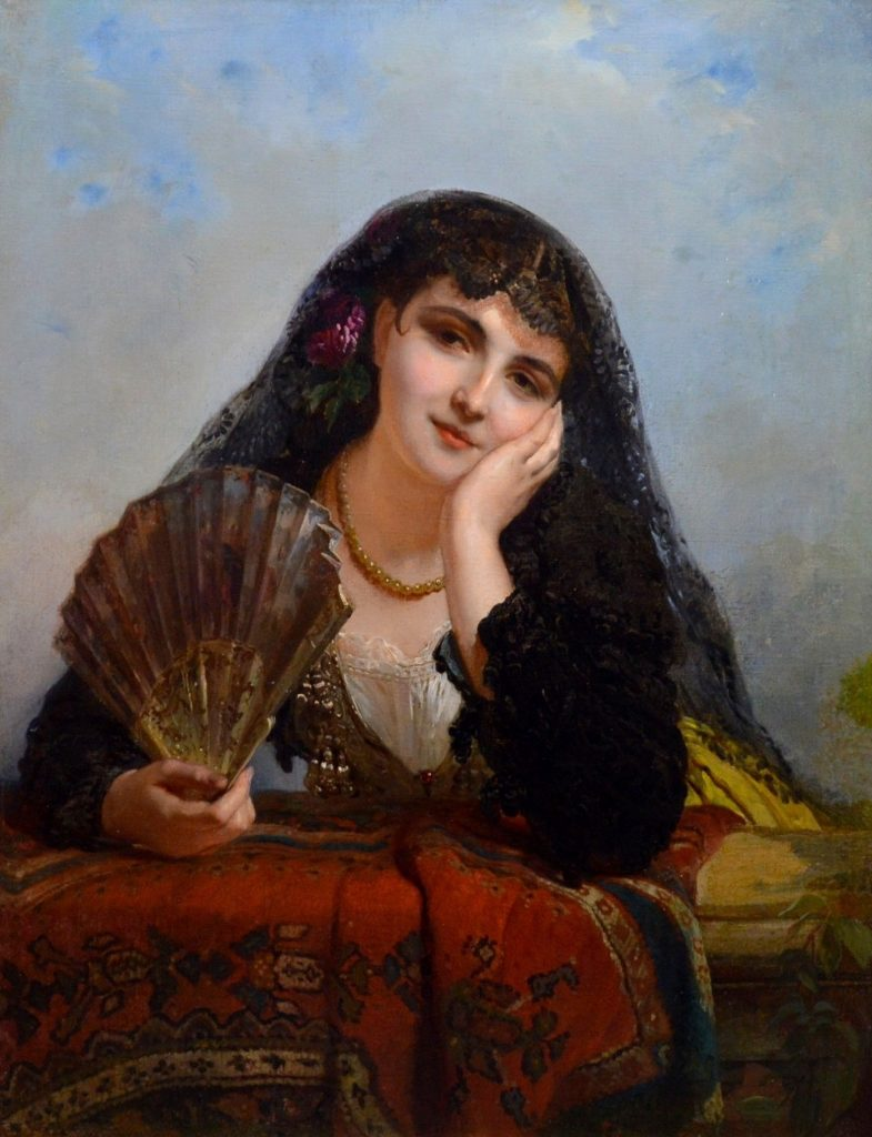 A Spanish Beauty - 19th Century French Oil Painting of Beautiful Gypsy Girl Image