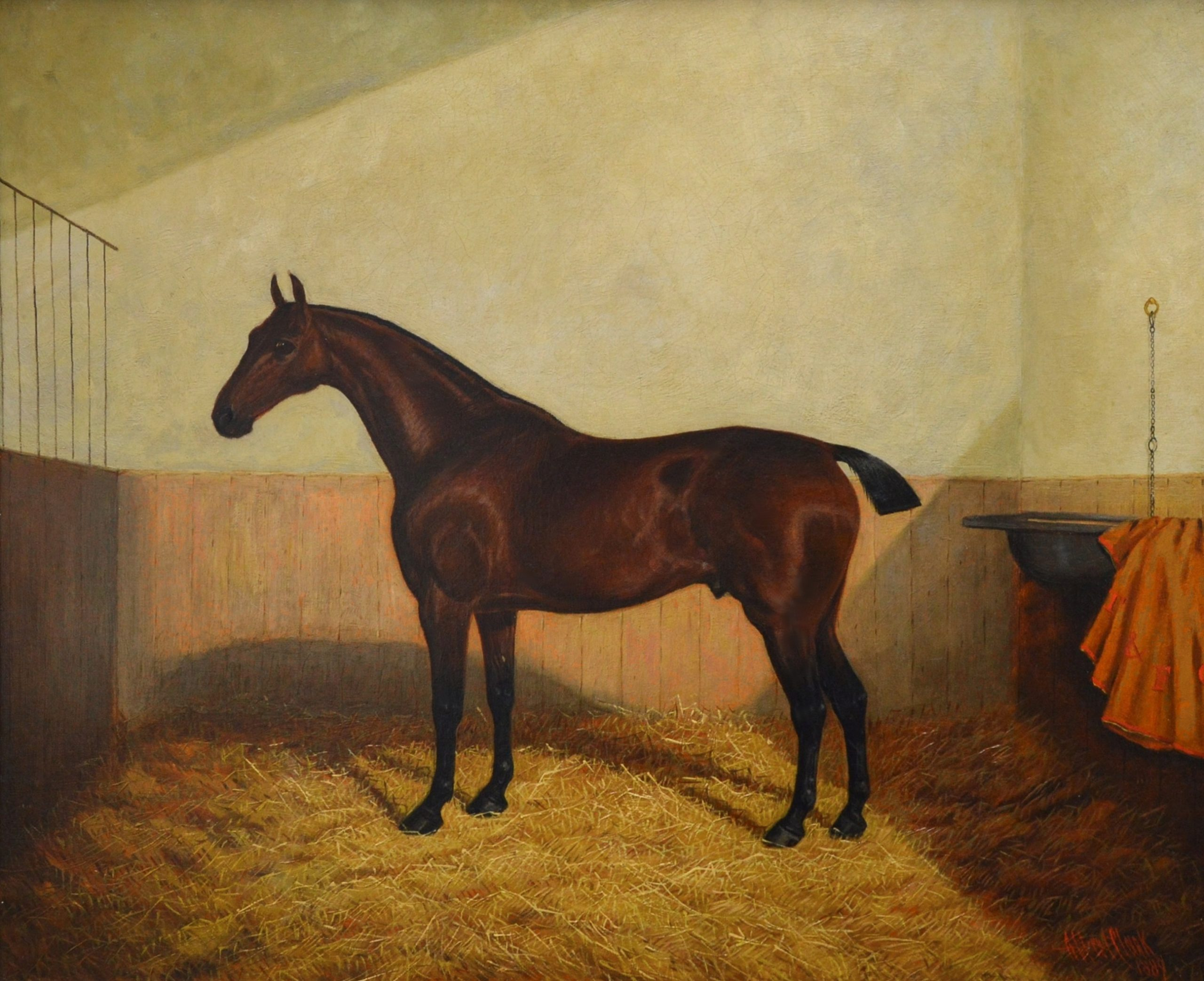 Bay Hunter in a Stable - 19th Century Equine Portrait Oil Painting Image