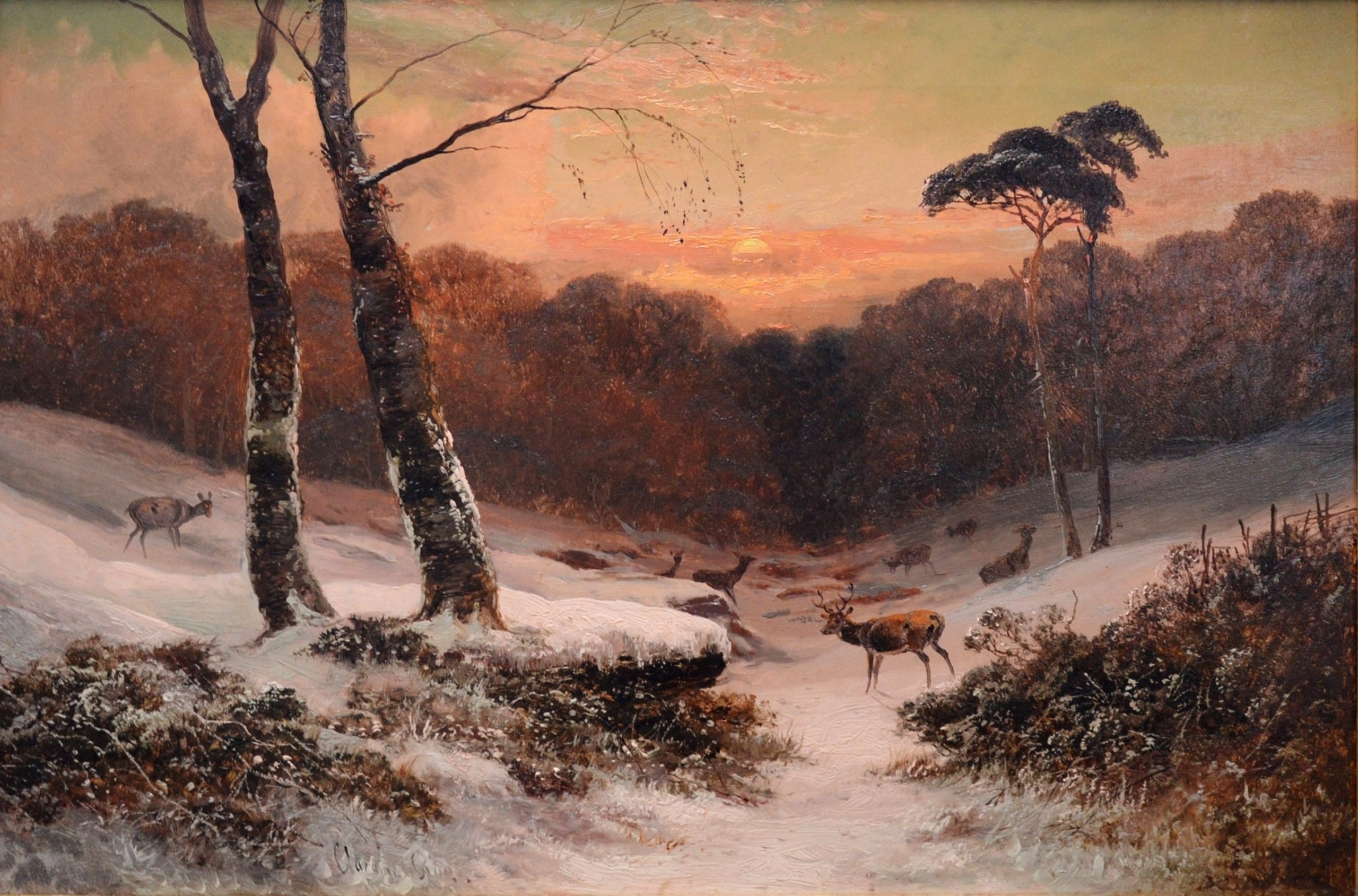 Winter Sunset - 19th Century Landscape Oil Painting Image