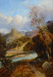 On the River Tay - 19th Century Scottish Highland Landscape Oil Painting Image