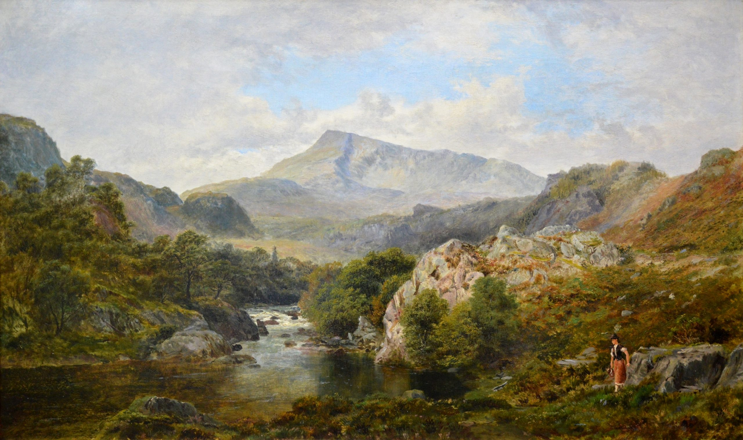 The Heron Pool - 19th Century Landscape Oil Painting of North Wales Image
