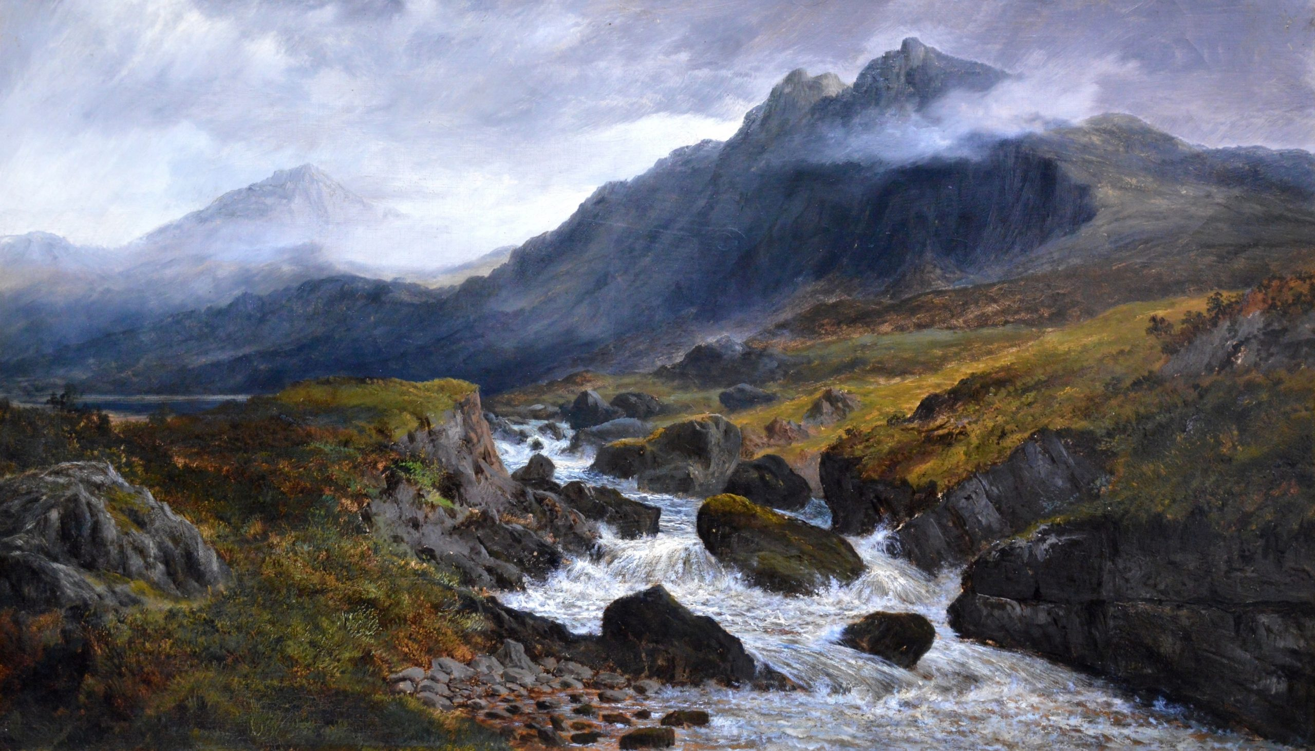 On the Mountains above Ffestiniog, North Wales - 19th Century Oil Painting Image