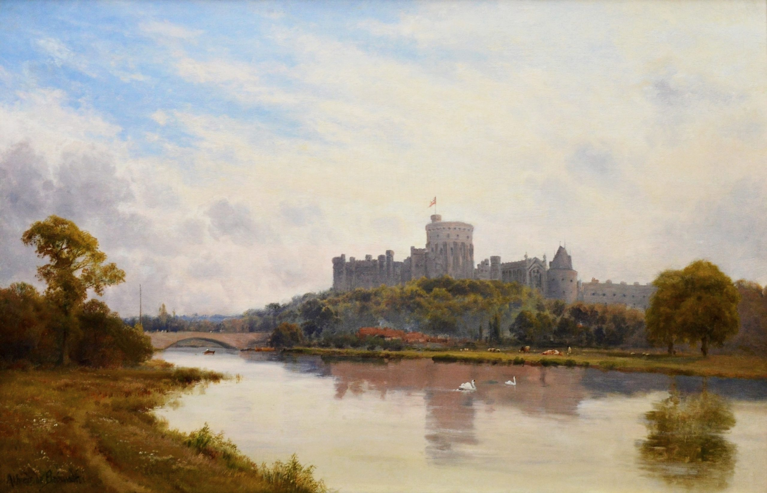 Windsor Castle from the Thames - 19th Century Landscape Oil Painting of English Royal Residence Image