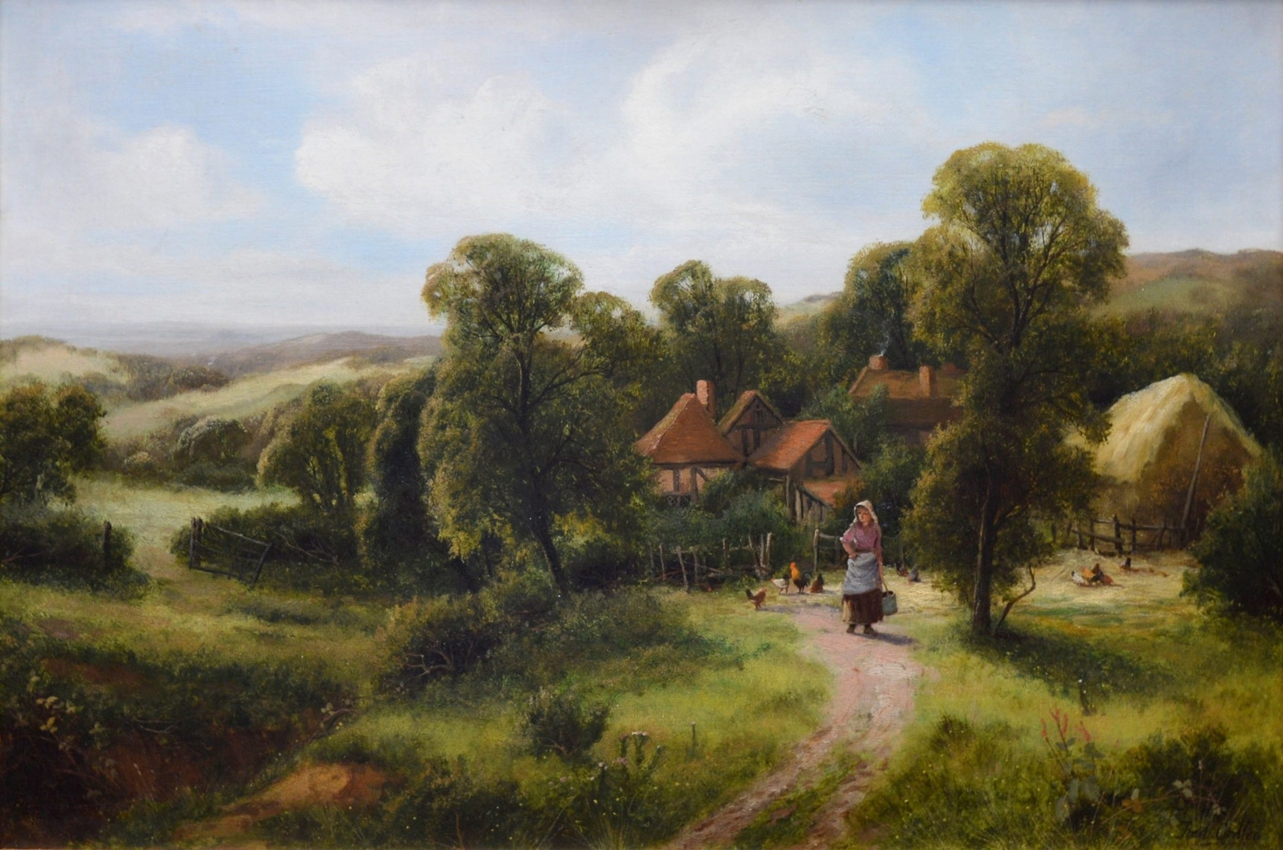A Surrey Homestead - 19th Century Summer Landscape Oil Painting Image