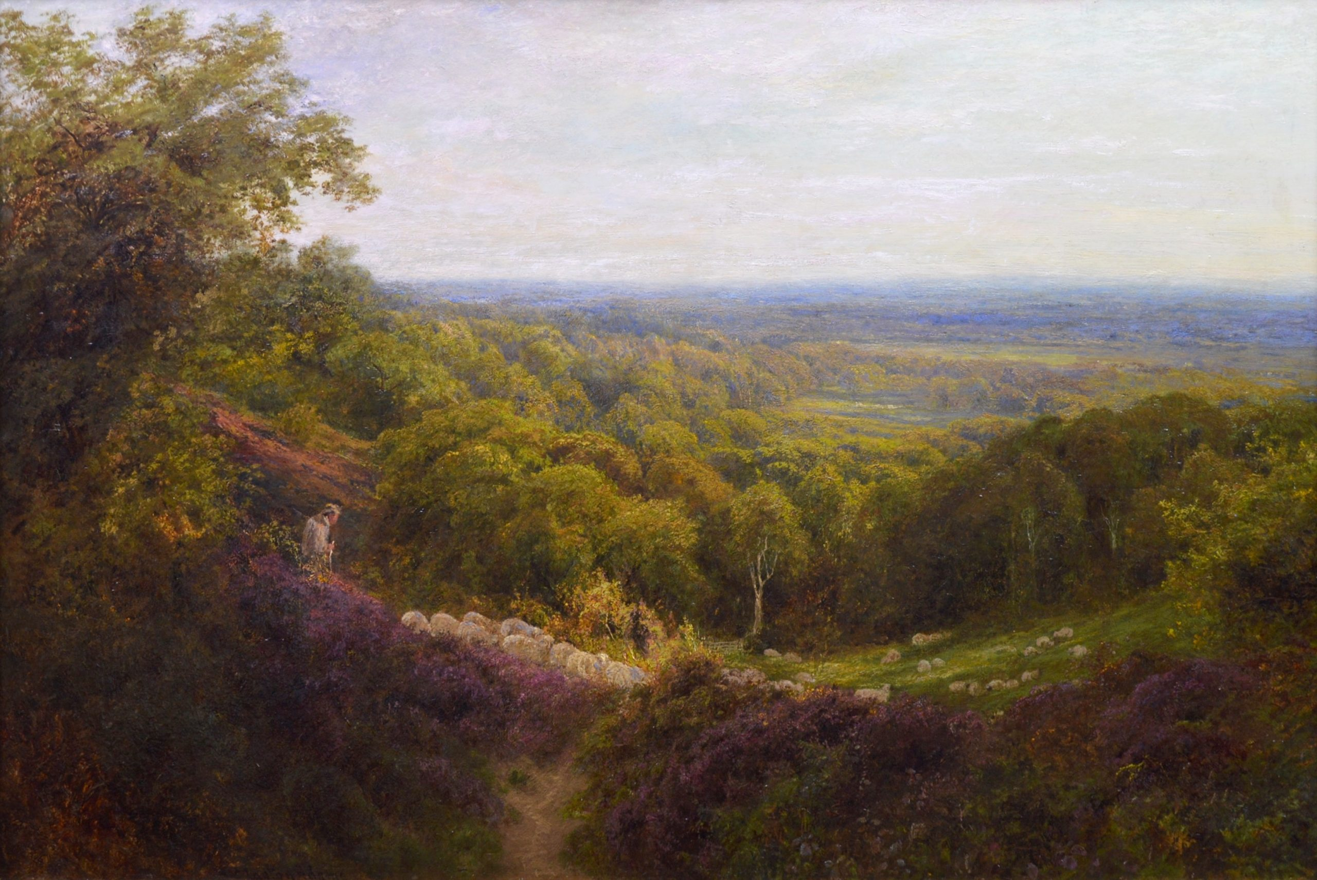 Summer in the Surrey Hills - 19th Century English Landscape Oil Painting Image