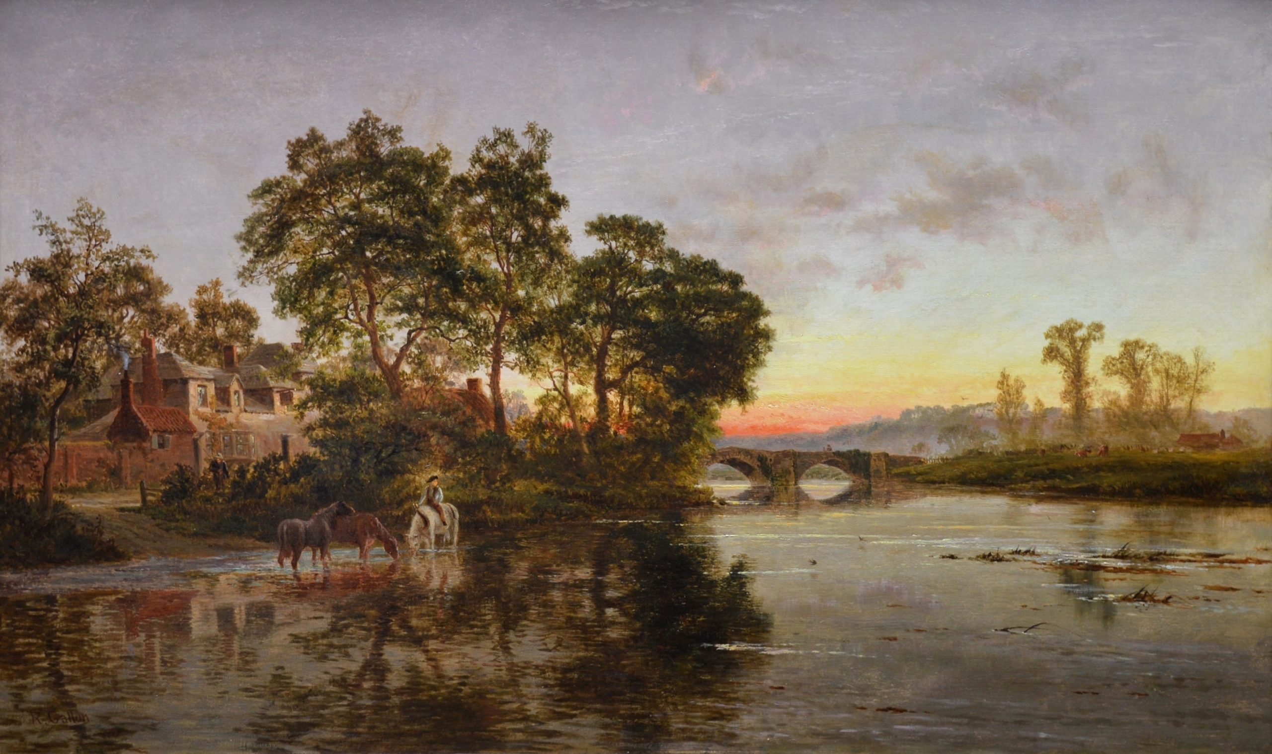 On the Thames near Shillingford - 19th Century Sunset Landscape Oil Painting Image