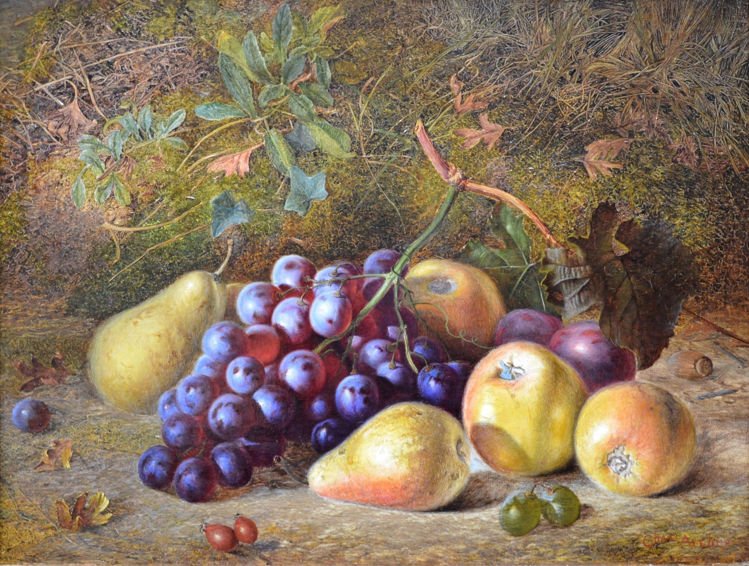 Still Life of Summer Fruits - 19th Century Oil Painting Image