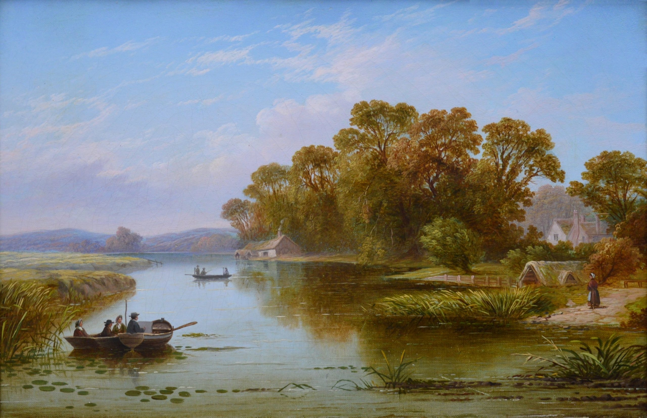 The Thames near Hampton - 19th Century River Landscape Oil Painting Image