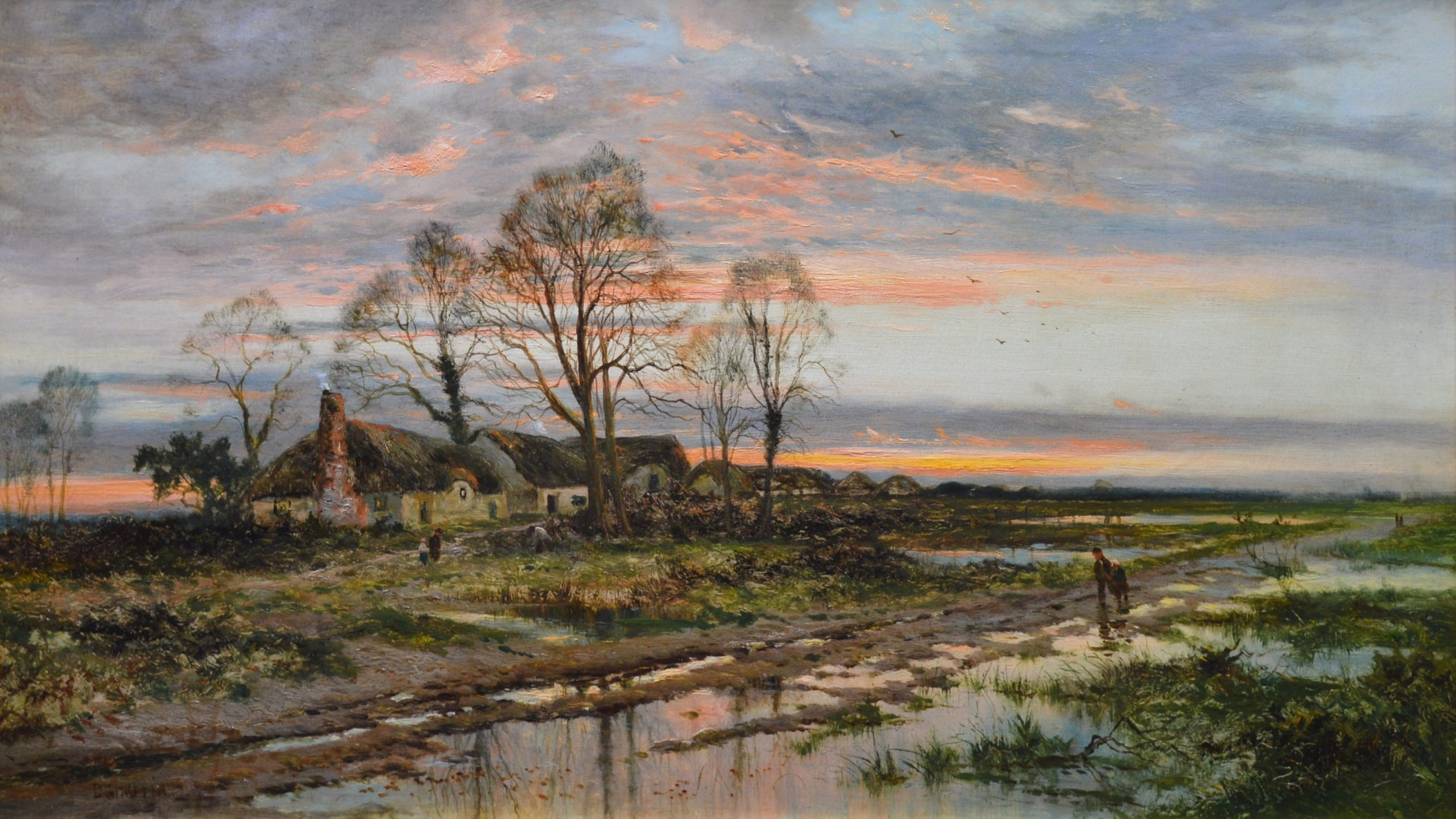 The Last Gleam - 19th Century English Sunset Landscape Oil Painting Image