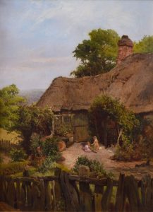 A Thatched Cottage in Surrey - 19th Century English Landscape Oil Painting Image