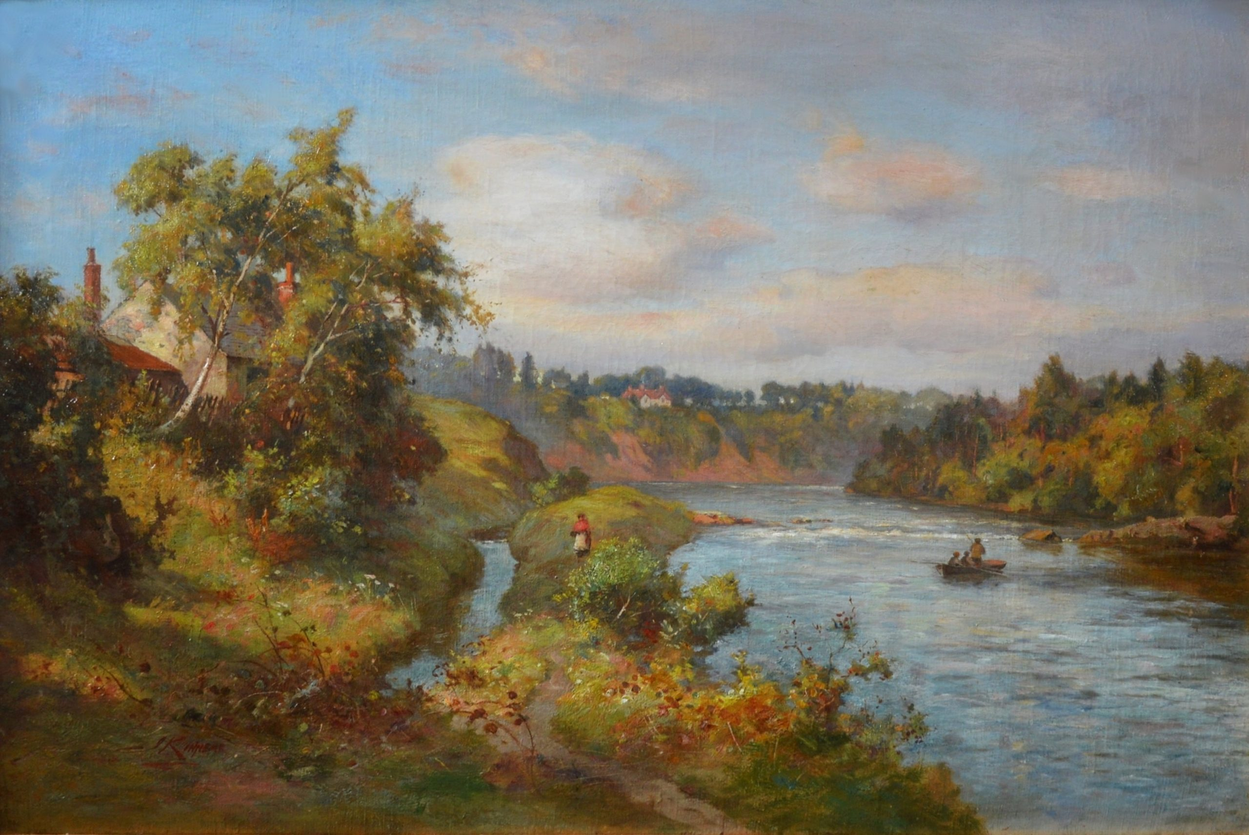 The Tay near Stanley - 19th Century Scottish Landscape Oil Painting Image