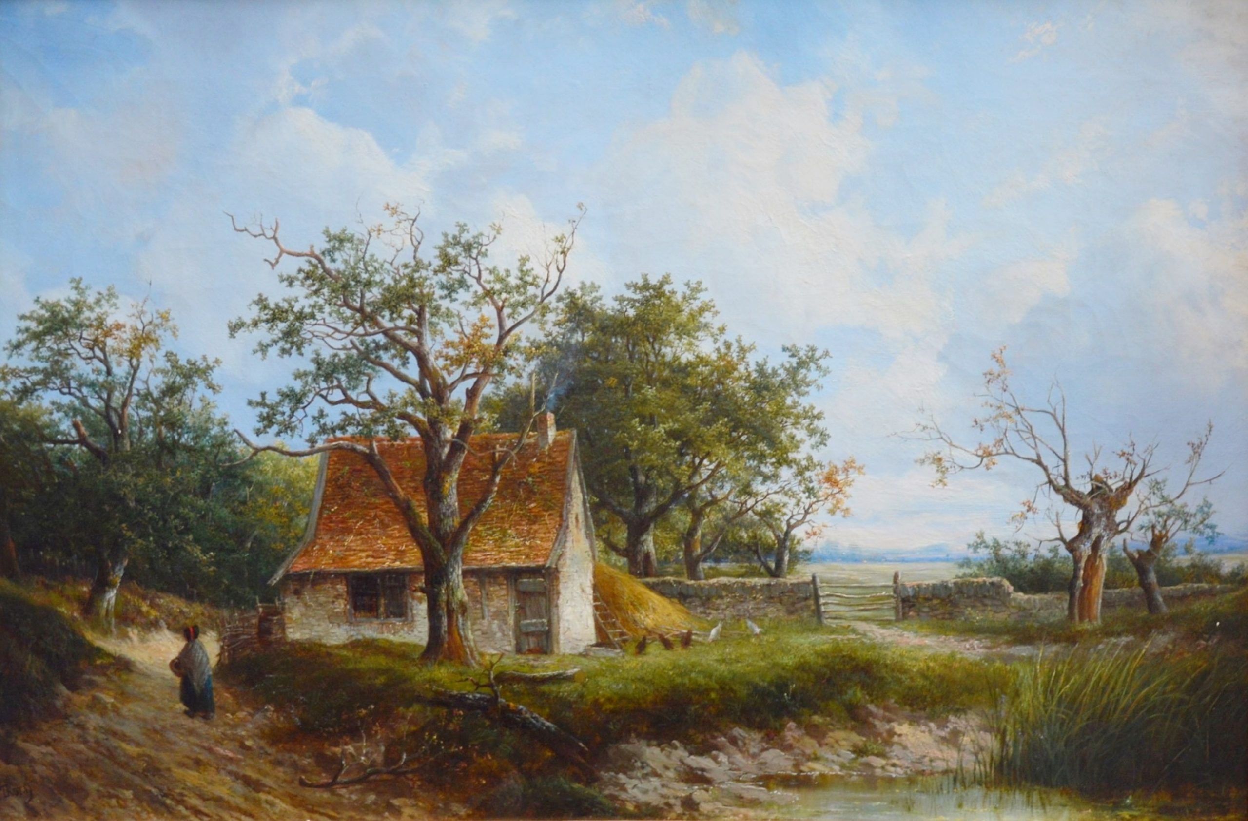 Near Stratford upon Avon - 19th Century English Landscape Oil Painting Image